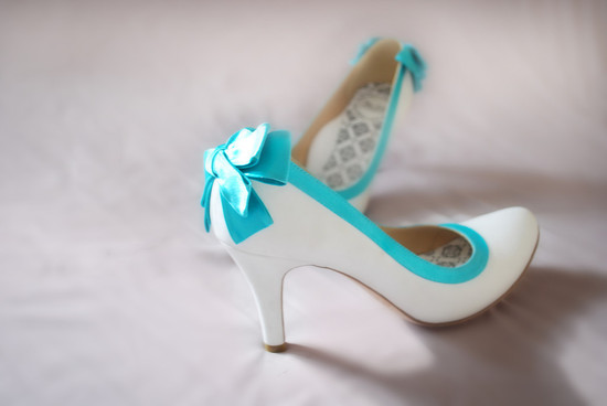hey lady wedding shoes vintage inspired bridal heels white with teal