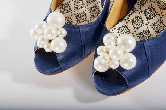 hey lady wedding shoes vintage inspired bridal heels navy with pearls