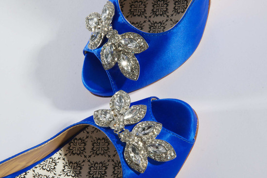 hey lady wedding shoes vintage inspired bridal heels blue satin peep toes rhinestone brooch details