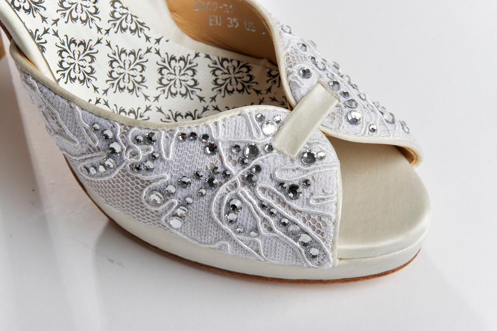 Hey Lady Wedding Shoes Vintage Inspired Bridal Heels Ivory Lace Embellished