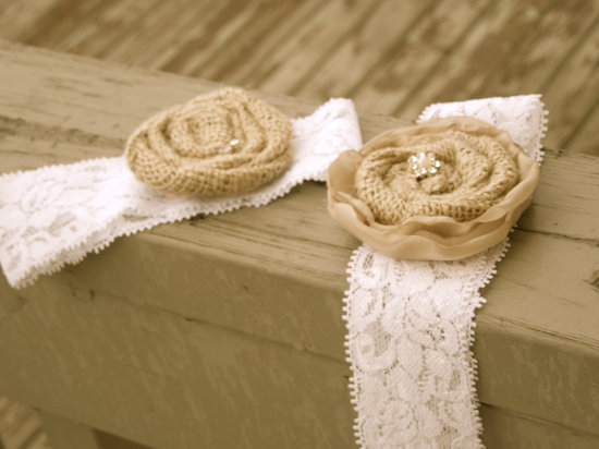 photo of Burlap lace bridal garter