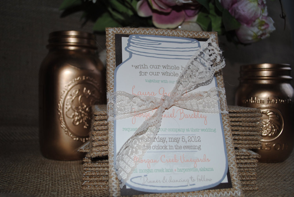 burlap lace wedding invitations tied with lace bow