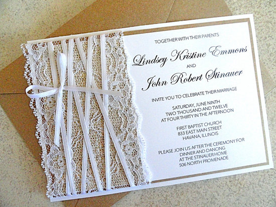 photo of Lace and burlap wedding invitations