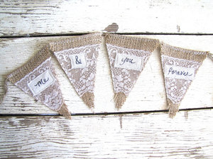 photo of Me & You Forever Burlap and Lace Wedding Banner