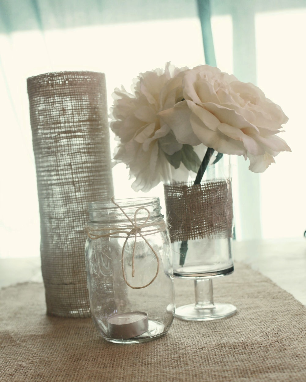 Elegant wedding centerpieces - Simple Elegant Wedding Reception Centerpieces Burlap Wrapped Vases Mason Jars