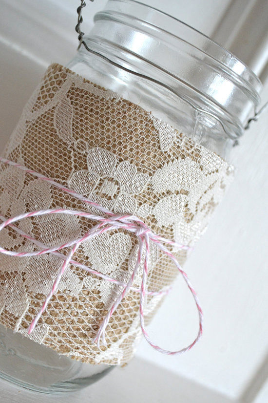 hanging wedding reception decor mason jars wrapped with lace burlap