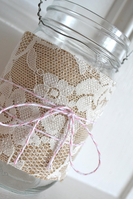 mason jars wrapped with lace burlap burlap and lace hanging lanterns ...