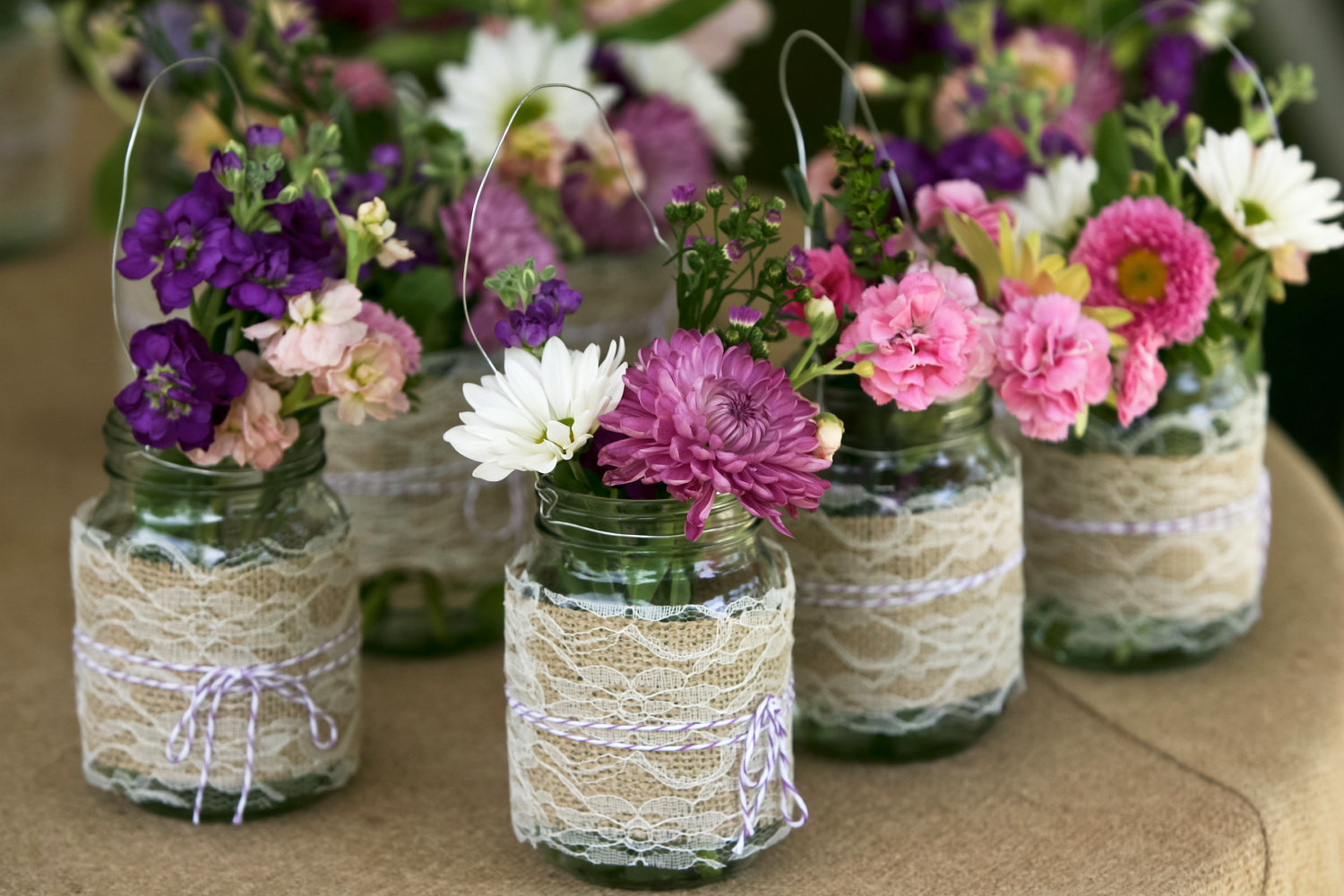 Burlap lace mason jar wedding decor centerpieces for Decoration flowers