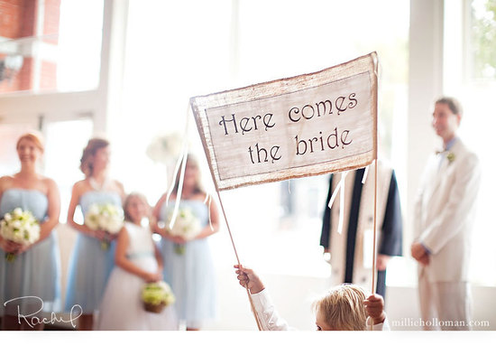 photo of Here Comes the Bride burlap wedding sign