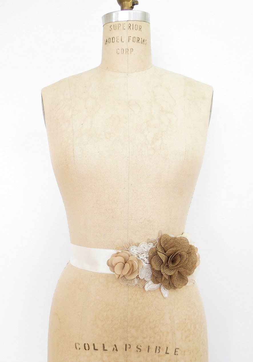 burlap wedding accessories bridal sash for wedding dress ...