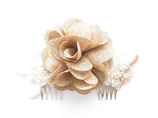 photo of Burlap and lace wedding hair accessory