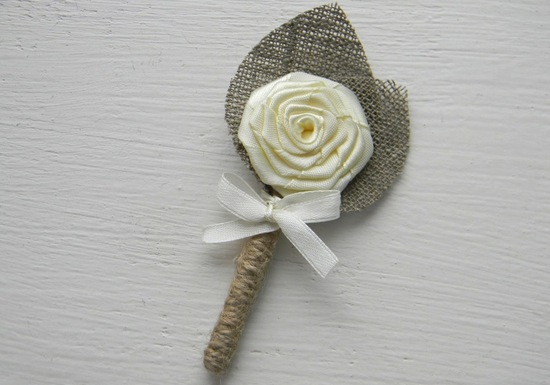 photo of Ivory flower burlap boutonniere