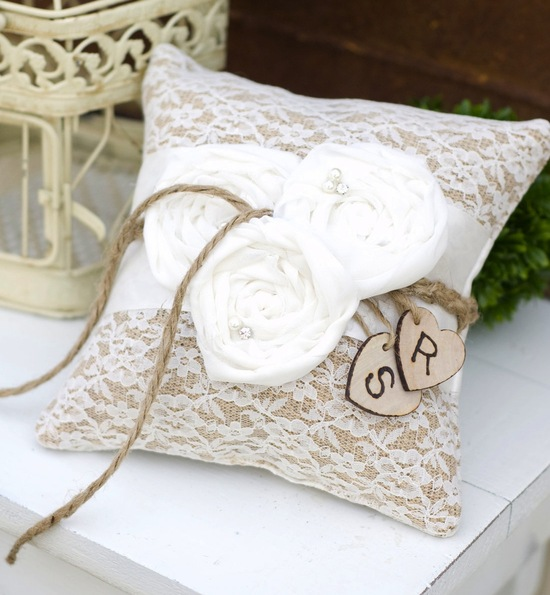 burlap lace wedding ceremony details ring bearer pillow