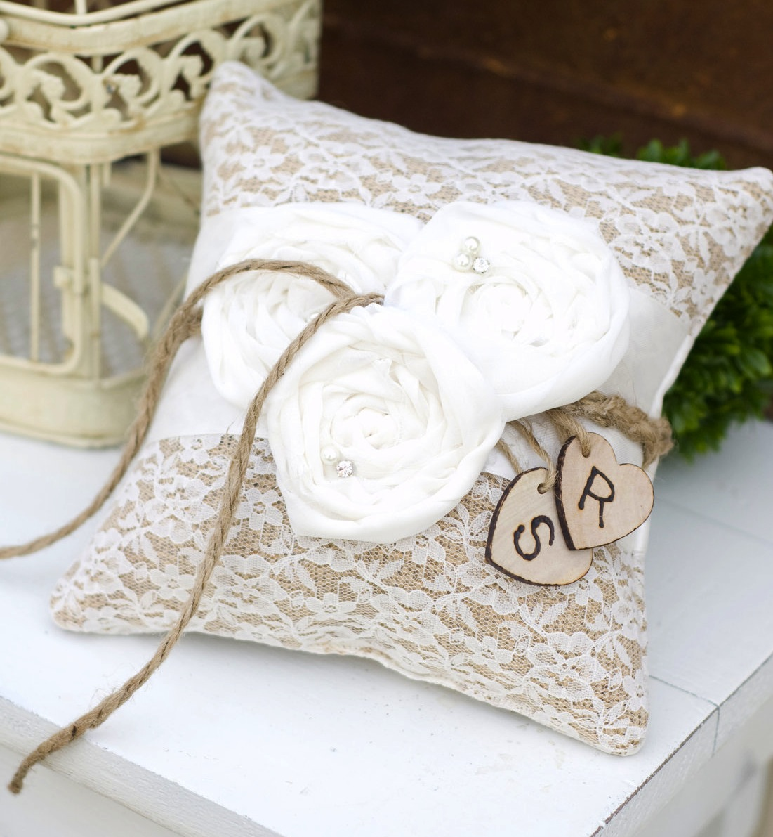 burlap lace wedding ceremony details ring bearer pillow | OneWed.com