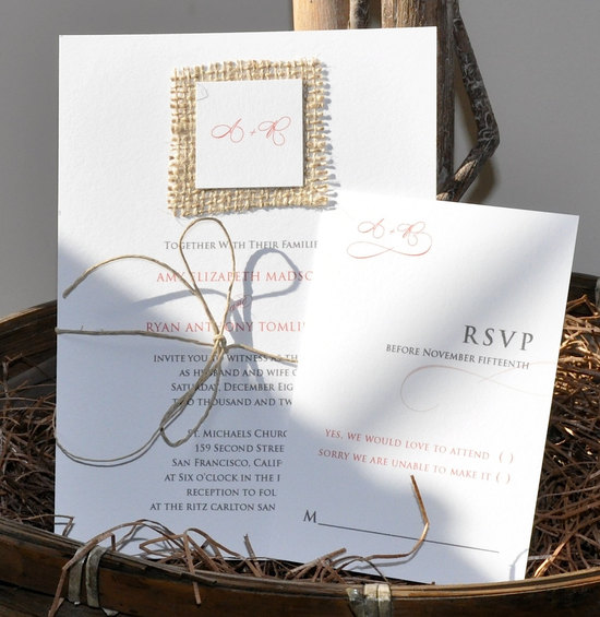 elegant wedding invitations touches of burlap