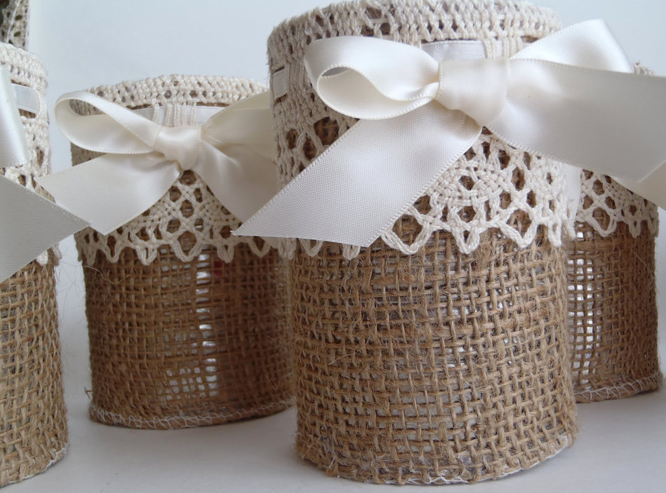 burlap lace wedding reception decor rustic elegant neutral tones dessert table