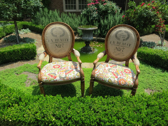photo of Burlap floral accent chairs