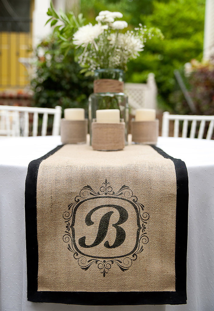 photo of Custom monogram burlap table runner