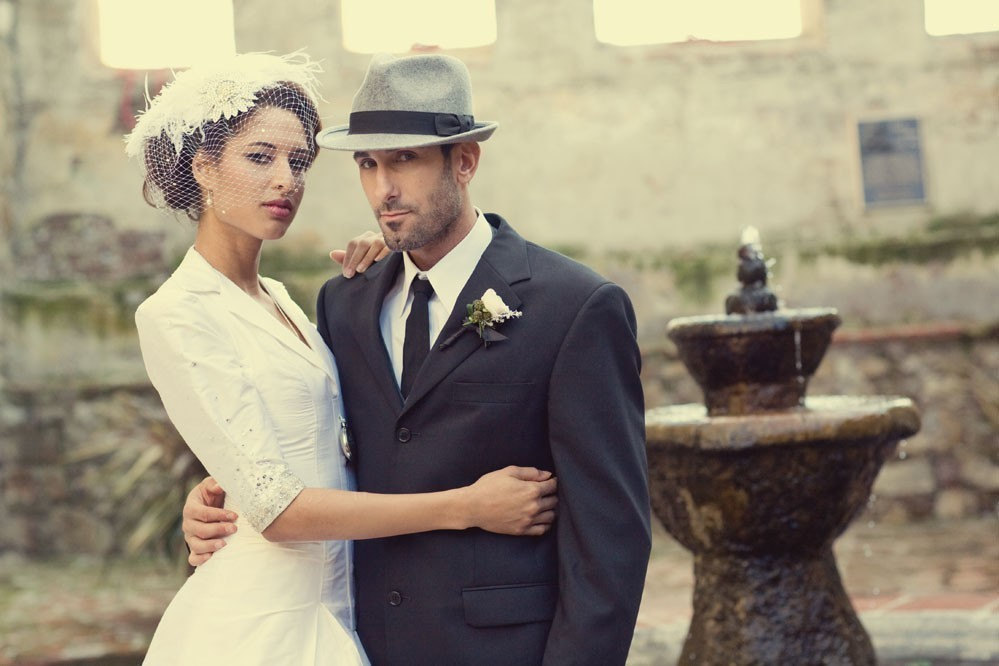 bride and groom retro inspired wedding hats