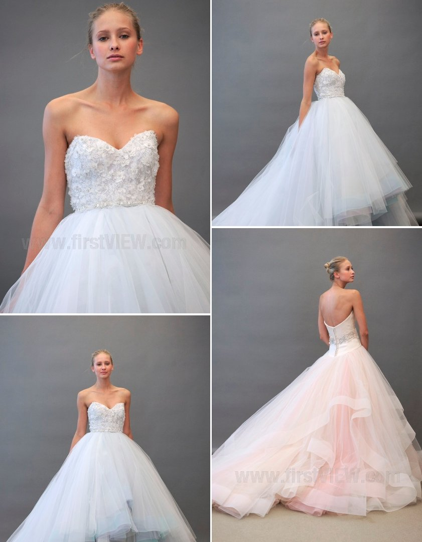 wedding dresses fall 2012 Lazaro bridal gowns non white wedding dress tulle