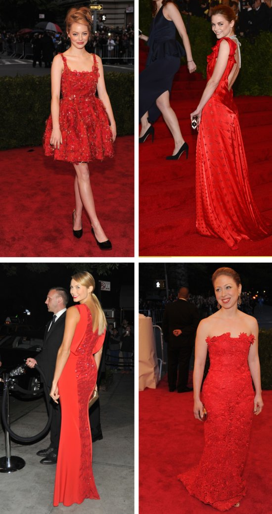 met ball 2012 wedding fashion trends bridal style inspiration red dresses