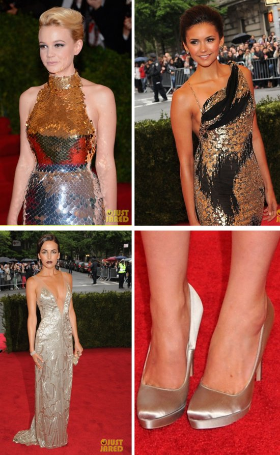 met ball 2012 wedding fashion trends bridal style inspiration metallics sheer illusion touches