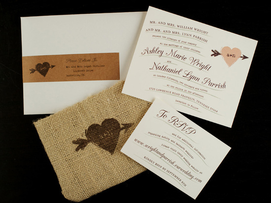 Rustic Whimsical wedding invitations with burlap touches