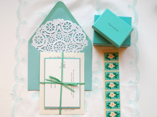 tiffany blue white lace wedding invitations