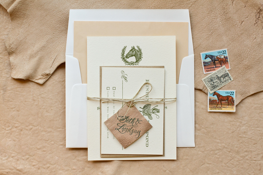 country western wedding invitation leather twine details