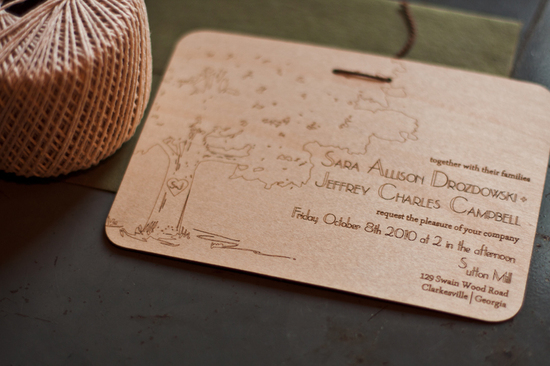 rustic wedding invitations laser etched wood wedding stationery 2