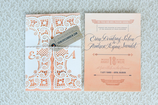 ombre lace wedding invitations romantic wedding stationery 1