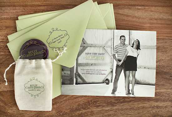 sage chocolate linen wedding save the dates customized with bride groom photo 1