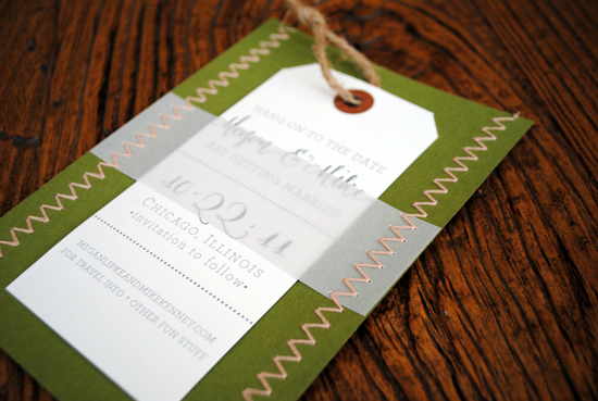 letterpress wedding invitations stitched wedding stationery green ivory khaki 2