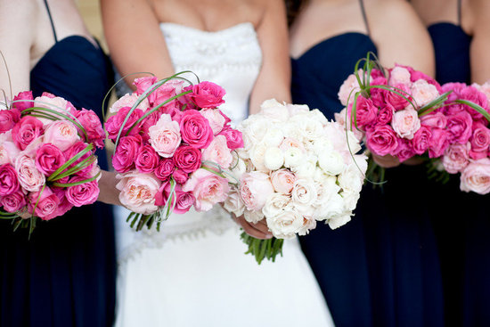 Light & dark pink wedding flowers for bridal bouquet