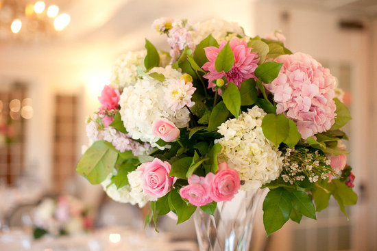 Pink and green wedding colors reception centerpiece