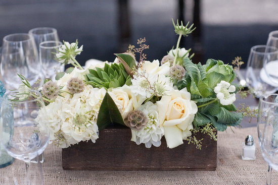 Cream, tan &  brown wedding flower centerpiece with green touches