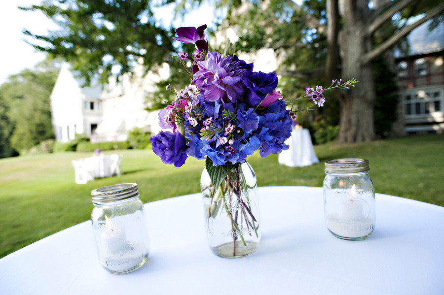 mason jar wedding centerpieces purple blue flowers. Black Bedroom Furniture Sets. Home Design Ideas