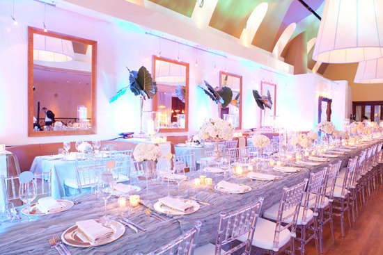 photo of purple periwinkle wedding colors indoor reception