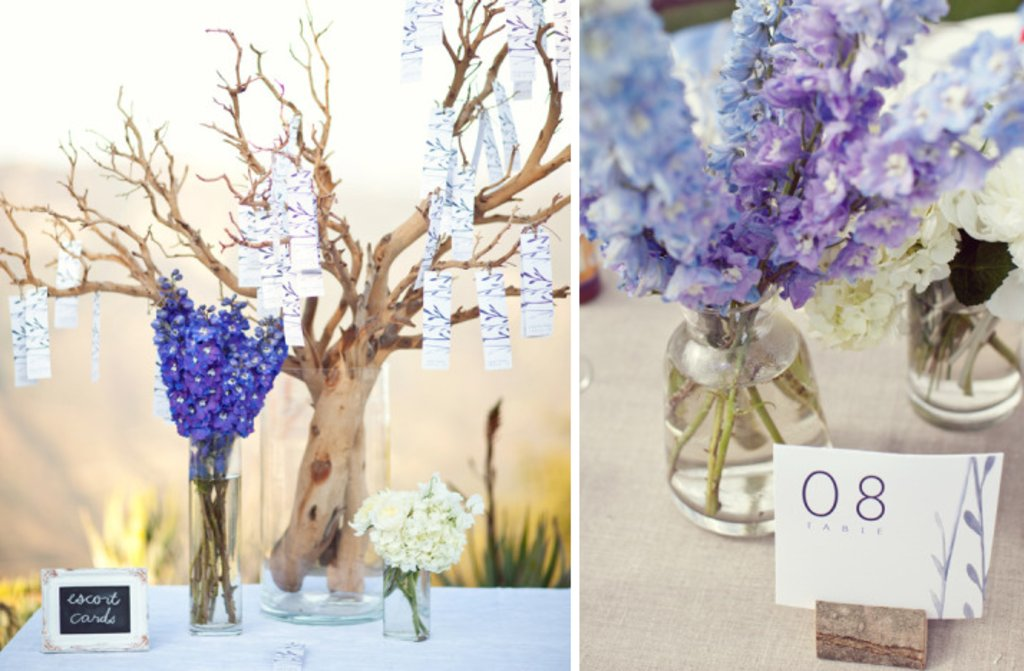Blue Purple Hydrangeas For Wedding Reception Floral Centerpieces Totally DIY And Lime Green Escort