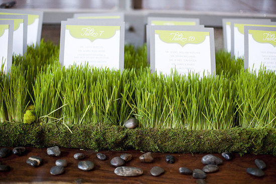 green gray wedding color palette creative escort card display