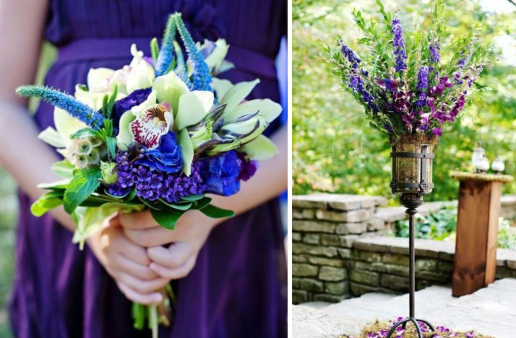 Bride with bridesmaids show off purple blue wedding flowers