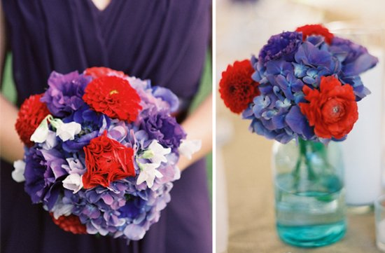 Red and purple wedding color palette bridesmaid bouquet ceremony flowers