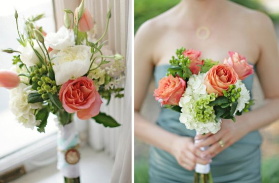 Coral, sage, green and ivory wedding colors for a romantic spring wedding flowers bridal bouquet.