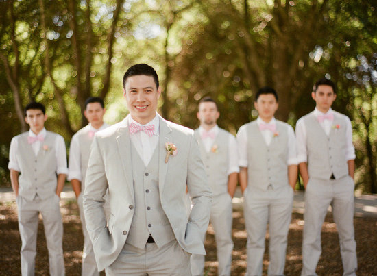Light pink and khaki wedding colors groom with groomsmen