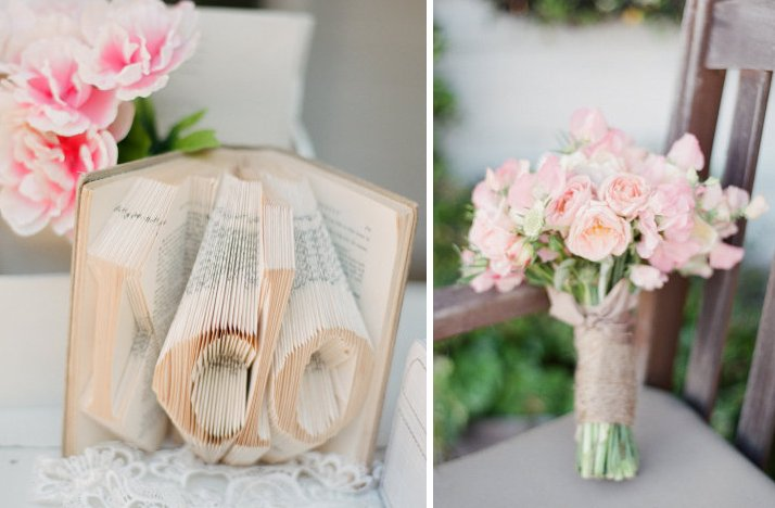 Romantic wedding color palettes in light pink and tan bridal bouquet