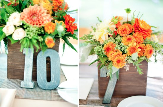 Perfect wedding color palettes in orange and green wedding centerpieces