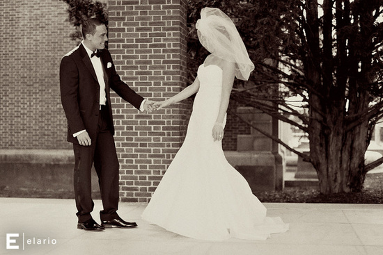 black white wedding photos first look bride wears stunning veil mermaid dress