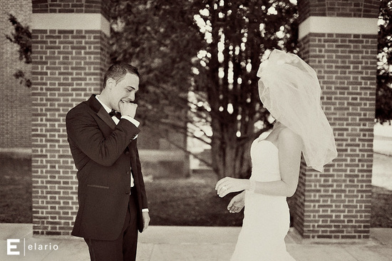 funny wedding photos first look bride and groom