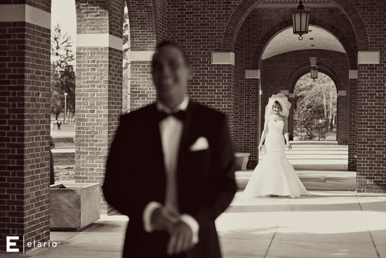 black white wedding photo first look