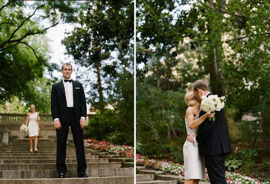outdoor wedding first look black tie groom